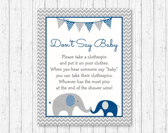 Navy & Gray Elephant Don't Say Baby Game / Elephant Baby Shower / Clothespin Baby Shower Game / INSTANT DOWNLOAD A219