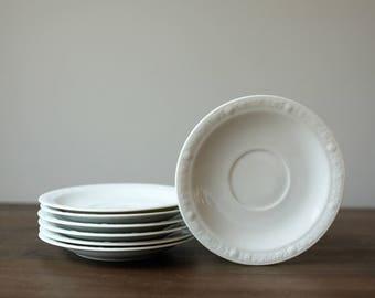 Vintage White Tea Saucers (set of 7)