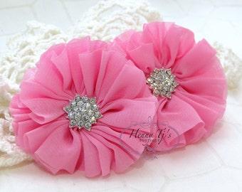 "2 pcs 2.5"" Adeila Ballerina BUBBLEGUM PINK Shabby UNFrayed Chiffon Ruffle Flowers with Rhinestone, Silk Flowers, applique , hair accessories"