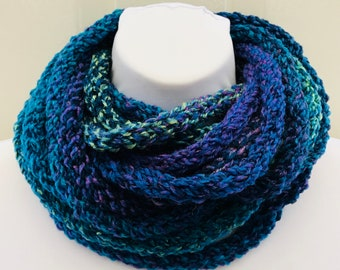 Assorted Blues and Teals Infinity Scarf, chain scarf, loop scarf, circle scarf, eternity scarf, crochet infinity scarf, knit cowl