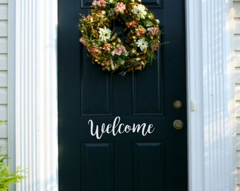 Welcome Vinyl Door Decal, Welcome Decal