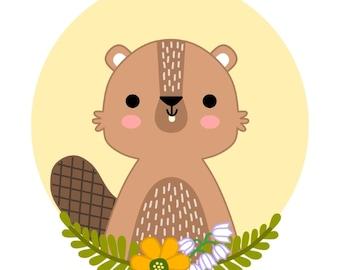 PRINTABLE digital illustration - BEAVER - instant download, digital download, nursery wall art, printable nursery decor, woodland animals