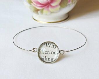 Sherlock Holmes Stacking Bangle Bracelet Sir Arthur Conan Doyle. Vintage Silver Text Name. Literature Jewelry Two Cheeky Monkeys Handmade