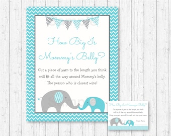 Cute Elephant How Big Is Mommy's Belly Game / Chevron Elephant Baby Shower / Teal & Grey / Belly Guessing Game / INSTANT DOWNLOAD A200