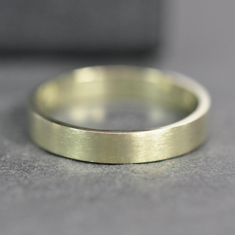 14K GREEN GOLD Ring 3x1mm Flat Edge Wedding Band or Fashion