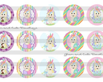 "Easter UNICORNS INSTANT DOWNLOAD Bottle Cap Images 4x6 sheet 1"" circles"