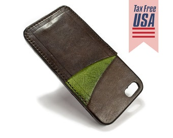 iPhone SE and 5s and 5 Italian leather Case with 2 credit card holder vertical slots choose BODY and ACCENT colour