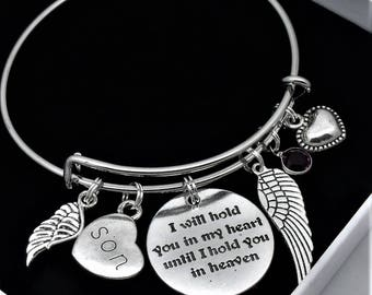 Son bereavement bracelet | I will hold you in my heart until I hold you in heaven | loss of son | memorial remembrance jewelry