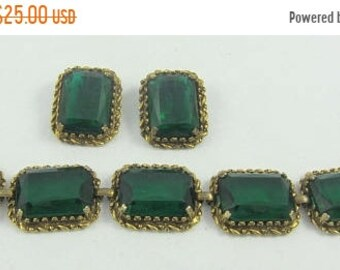 ON SALE Art Deco Style Green Glass Bracelet and Matching Clip-On Earrings Antiqued Look