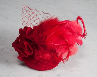 Fascinator Red, Headpiece Vintage Style, Wedding Headpiece Guests, Short Hair, Hair accessories, Prom Fascinator, Prom Hairstyle