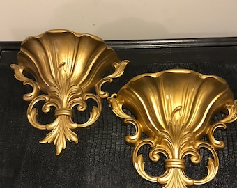 Vintage Homco Pair of Gold Wall Pockets Scroll Design Retro Shabby Chic Hollywood Regency Decor