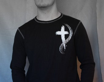LS Thermal Tee  with Cross, by Canvas, Black w/White stitching-Mens-SZ L
