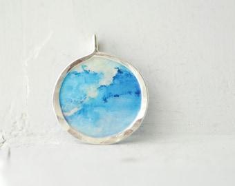 Indigo Blue Pendant, Cloud Necklace, 1st Anniversary Gift Paper Jewelry, Original Painting, Cerulean Blue, Denim Blue Jewelry, Colorful