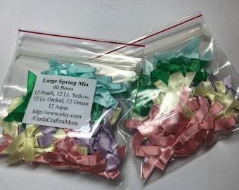 60 Mix 12 Asst Bows of 5 Different Colors,Ribbon,stamping,crafts,scrapbooking,wedding,Peach, Green, Lt Yellow,Lt Orchid,Grape,Aqua