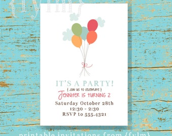 BALLOON Party Printable Party Invitations - I design - YOU PRINT