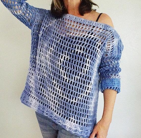Top Shoulder Sweater Blue Handmade Off Sweater Sweater Sweater Up Summer Crocheted the Tye Cotton Sweater Dye Blue Blue Cover Shirt 4BqH4U