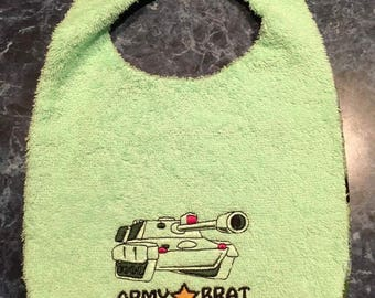 Custom Made to Order Army Brat Velcro Bib