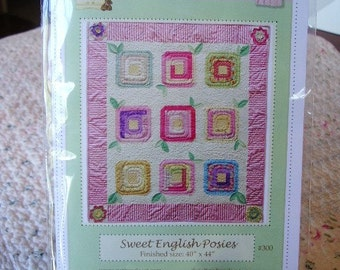 PDF Pattern Baby Quilt Sweet English Posies fun and easy to make