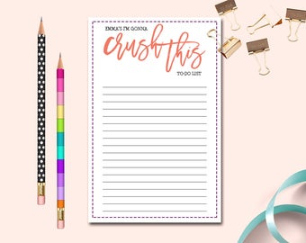 Your Name Crush This To-do list, Personalized To Do List, Custom To-do List, Crush This list