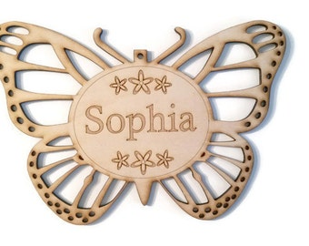 Wood Laser Cut Engraved Etched Customized Child Sign Name Plaque - Monarch Butterfly