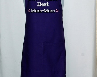 Mom Mom Apron, World's Best, Personalize With Grans, Momaw, Gram, Gramma, Auntie, Pippa, TeTe, MeMa, No Shipping Fee, Ships TODAY, AGFT 1020