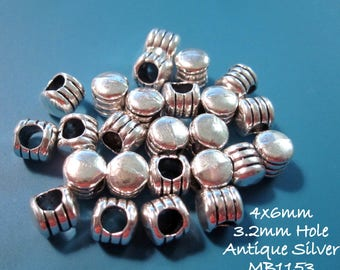 Antique silver Metal Spacer Beads Rope Design 4x6mm Bali Style Antique Silver Metal Beads MB1153 H17