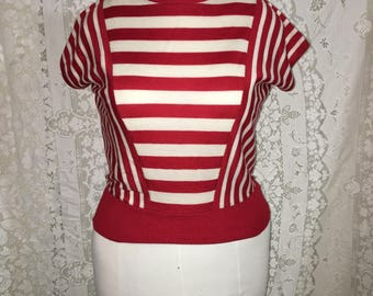 VTG 80s Red and White Striped Dolman Top Shirt sz S M