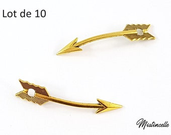 Curved Golden arrows, set of 10 charms