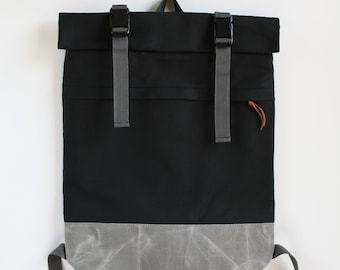 urban fold top backpack with waxed canvas bottom - charcoal + metal