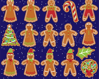 Gingerbread Cookie Clipart, Gingerbread Man Clip Art, Christmas Gingerbread Clipart - Commercial and Personal Use