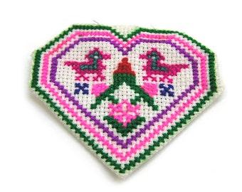 Vintage Hmong Cross Stitch Heart Handmade Heart