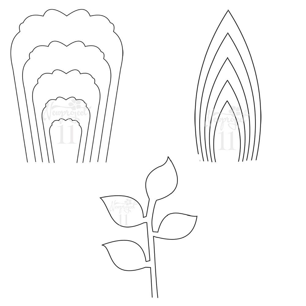 Pdf set of 2 flower templates and 1 leaf template ant zoom mightylinksfo Gallery