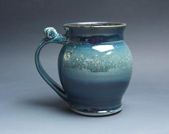 Pottery beer mug, ceramic mug stoneware beer stein, deep blue 24 oz 4241