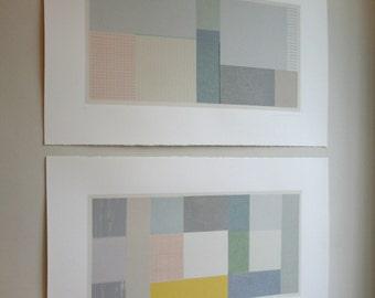 Pair large abstract geometric screenprints, handmade original fine art silkscreen prints by Emma Lawrenson
