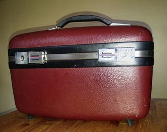 Vintage American Tourister Train travel Case in Oxblood