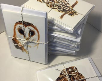 Christmas card 'British Owls' Set of 8 A6 cards