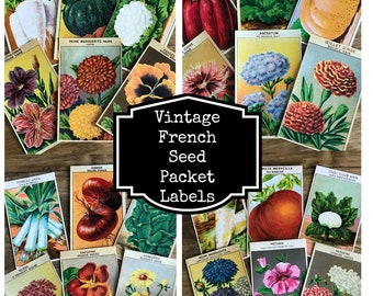 Vintage French Seed Packet Labels - Great Ephemera for Mixed Media or Junk Journals