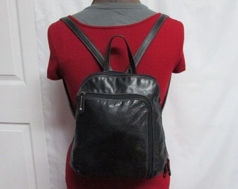 Vintage Tignanello Black Leather Backpack Purse Handbag With Contrast Stitching