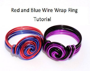 Wire wrap ring tutorial, wire ring tutorial, jewelry tutorial, ring tutorials, diy ring, pdf tutorial, wire ring pattern, how to wire wrap