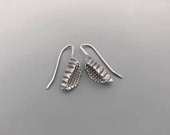 Sterling Silver Beeja Pod Earrings, boho earrings, petite earrings, ethnic tribal earrings, gift for her, oxidized jewelry, simple earrings
