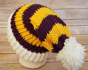 Purple Yellow Slouchy Hat, Purple Yellow Sports Team Hat, Vikings Hat, Knit NFL Hat, Knit Purple Gold Hat, Knitted Minnesota Vikings Hat