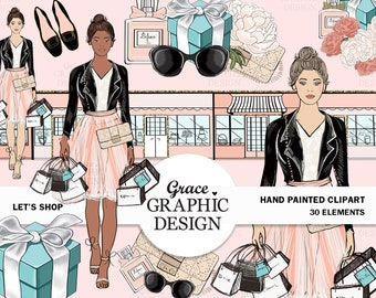 Tiffany Shopping Clipart Set, Fashion Clipart Set, Hand Painted Clipart Set, Instant Download Fashion Illustrations Commercial Use Clip Art
