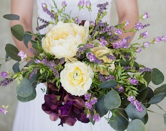 Lavender Yellow Wedding Bouquet, Boho Bouquet, Artificial Flowers, Eucalyptus Bouquet, Silk Flowers, Wildflower Bouquet, Wedding Flowers