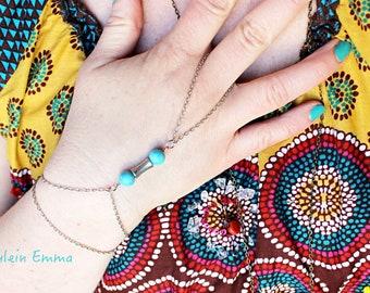 Band Bracelet Turquoise Silver Boho simple romantic ring bracelet Summer Festival Garden Party