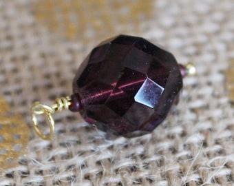 Deep Purple Pendant Necklace   Plum Purple Glass Bead Pendant 14k Gold Necklace
