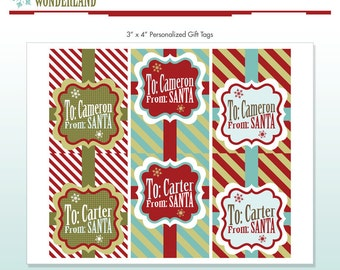 Santa Gift Tags - Customized With Name - Personalized - DIY Printable Package - Vintage Winter Wonderland - Do-it-Yourself Print Kit