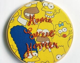 "Home Sweet Homer 6"" Embroidery hoop // The Simpsons // Simpsons Art // Embroidery Art // Modern Embroidery"