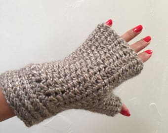 Heather Grey Crochet Fingerless Gloves