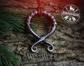 Large Viking Troll Cross Pendant with Twisted Top - Hand-Forged Iron -- Norse/Medieval/Protection/Amulet/Scandinavian/Steel/Jewelry/Skyrim