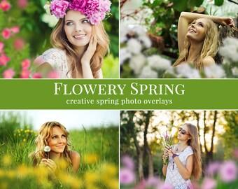 """Primavera fotos superposiciones """"florido de primavera"""", superposiciones de fotos flor, superposiciones de fotos digitales para Photoshop"""